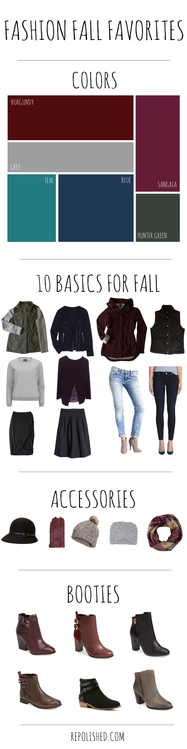 Fashion fall favorites: 10 basics, colors, accessories and booties for fall! | repolished.com